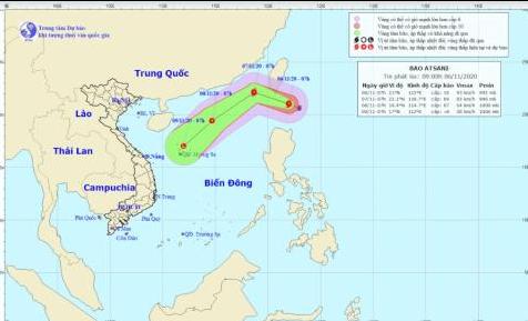 Dự báo đường đi của bão Atsani (Trung tâm Dự báo KTTV-QG)