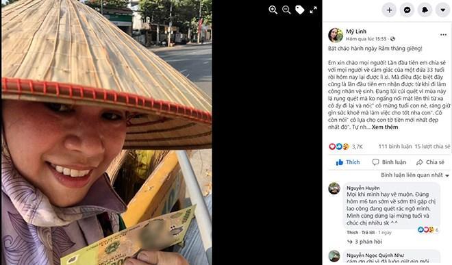 Câu chuyện nhân viên dọn vệ sinh bất ngờ được mừng tuổi 100 nghìn đồng dù đã hết Tết gây xôn xao mạng xã hội (Ảnh chụp màn hình).