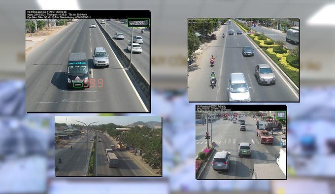 Hệ thống tự động nhận dạng, ghi nhận và cảnh báo xe vi phạm luật giao thông. Ảnh: Quang Bình.