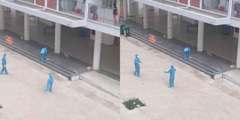 Phút thư giãn hiếm hoi kiết thúc, nhân viên chống dịch đi lại giày và tiếp tục làm việc. (Ảnh: Cắt từ clip).