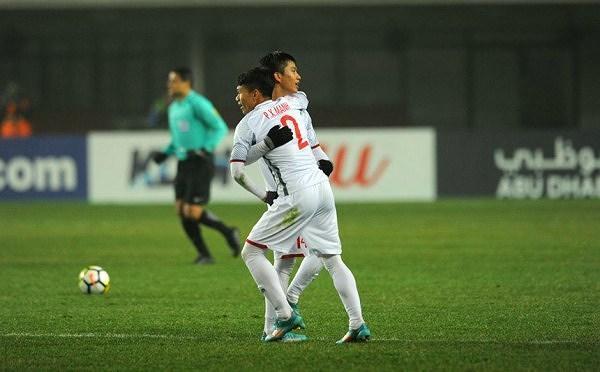 Văn Đức và Xuân Mạnh tại VCK U23 châu Á 2018. Ảnh: AFC.