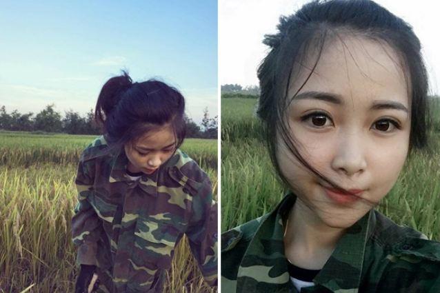 Hình ảnh cô gái gặt lúa thu hút mọi chú ý bởi gương mặt xinh xắn, hiện đại.