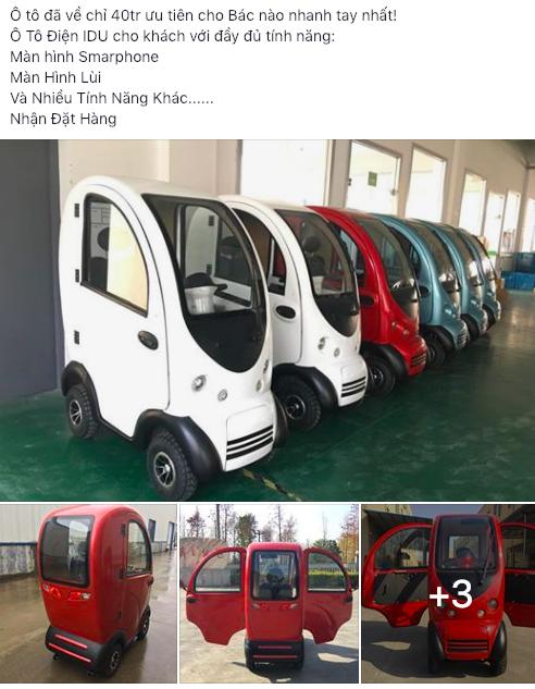 Xe ô tô mini xuất xứ Trung Quốc giá 40 triệu đồng được đơn vị nhập khẩu rao bán trên Facebook.