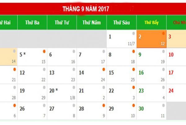 Lịch nghỉ dịp Quốc khánh 2/9 năm 2017.