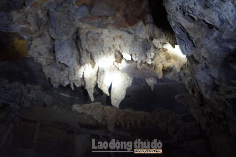 Trong lòng hang có nhiều tấm nhũ đá rủ xuống lấp lánh nhiều màu sắc, nhiều hình thù kỳ ảo, lạ mắt.