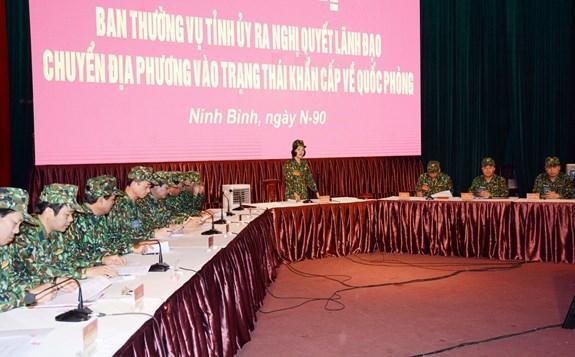 Hội nghị Ban Thường vụ Tỉnh ủy Ninh Bình ra nghị quyết lãnh đạo chuyển địa phương vào trạng thái khẩn cấp về quốc phòng.