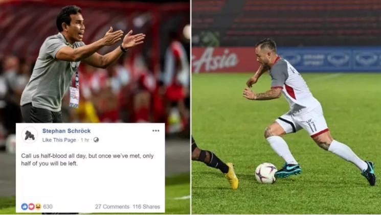Tiền vệ Stephan Schrock đáp trả HLV Bitma Sakti trên trang cá nhân. Ảnh: Fox Sports Asia.