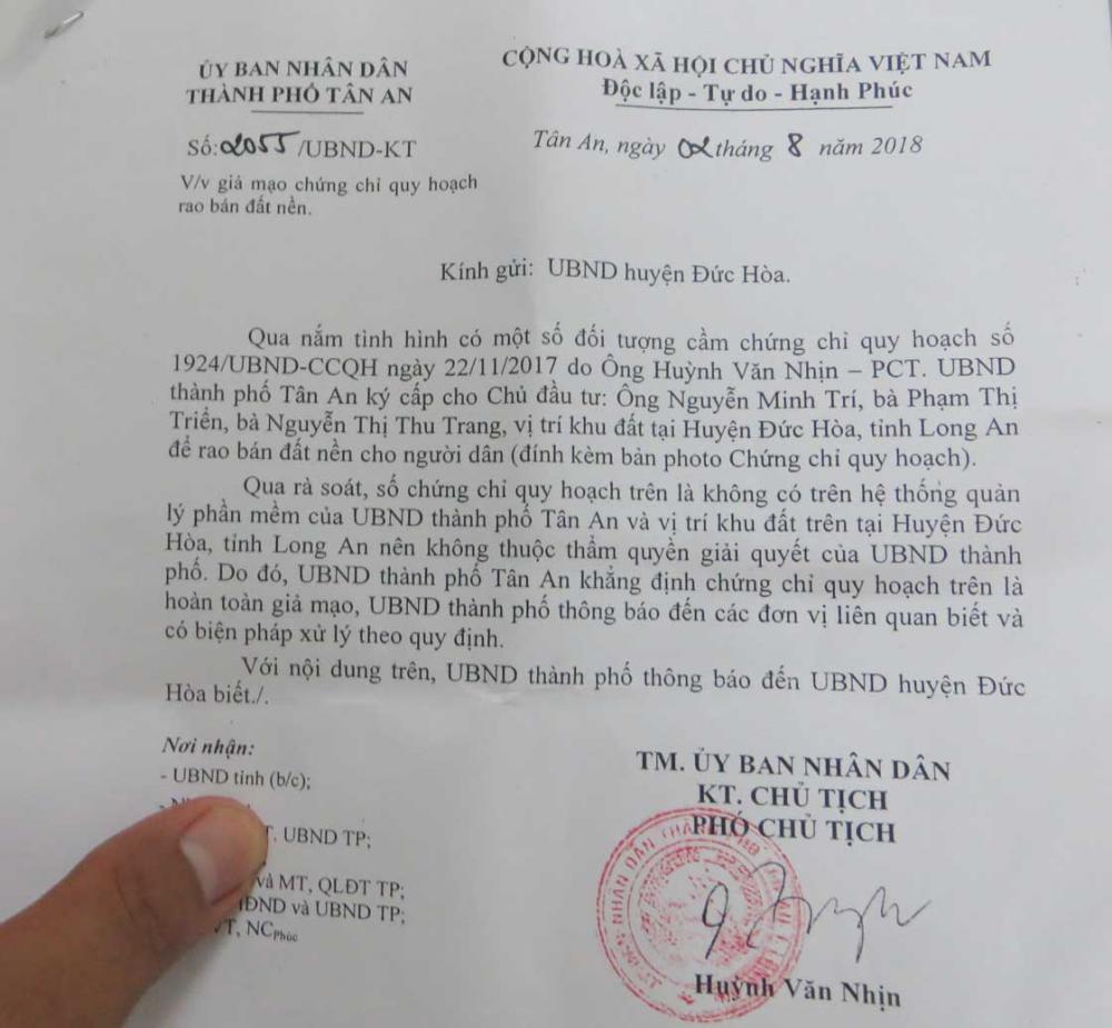 """UBND TP.Tân An cũng có văn bản khẳng định """"chứng chỉ quy hoạch giả mạo""""."""
