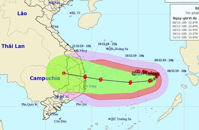 Dự báo đường đi của bão số 6