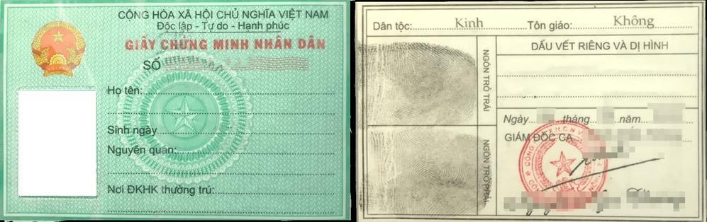 Mẫu chứng minh nhân dân. (Ảnh: Luật Việt Nam)