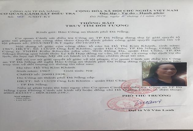 Cơ quan C.ảnh s.át đ.iều tr.a C.ông a.n TP Đà Nẵng ra thông báo tr.uy t.ìm bà Hồ Thị Kim Khánh (ảnh: CA cung cấp)