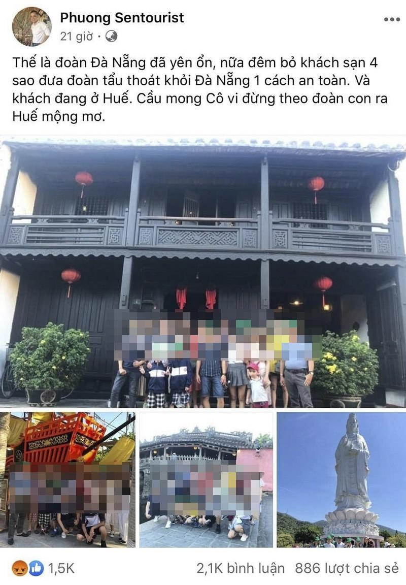 Nội dung hướng dẫn viên Võ Hồng Phương đăng tải lên mạng xã hội facebook.