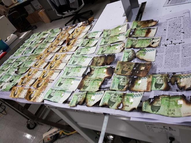 Ngân hàng Hàn Quốc phải đổi nhiều tờ tiền giấy bị cháy xém do người dân lo sợ virus corona đã bỏ tiền vào lò vi sóng. Ảnh: AP.