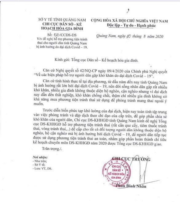 Văn bản của Chi cục dân số kế hoạch hóa gia đình Quảng Nam gửi Tổng cục - Ảnh: M.T/Tuổi Trẻ.
