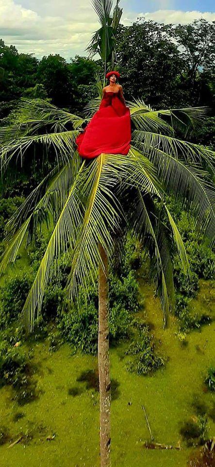 Người đàn ông tạo dáng xòe váy mộng mơ giữa ngọn dừa cao chót vót.