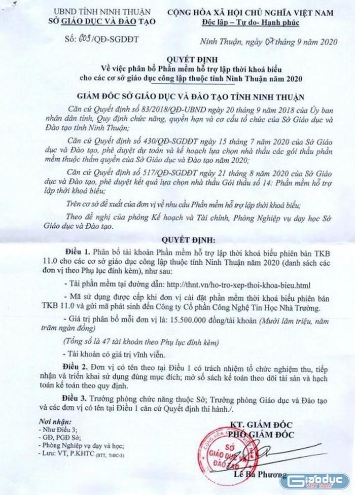 """Văn bản số 609/QĐ-SGDĐT """"Về việc phân bổ phần mềm hỗ trợ lập thời khoá biểu cho các cơ sở giáo dục công lập thuộc tỉnh Ninh Thuận"""" do ông Lê Bá Phương ký"""