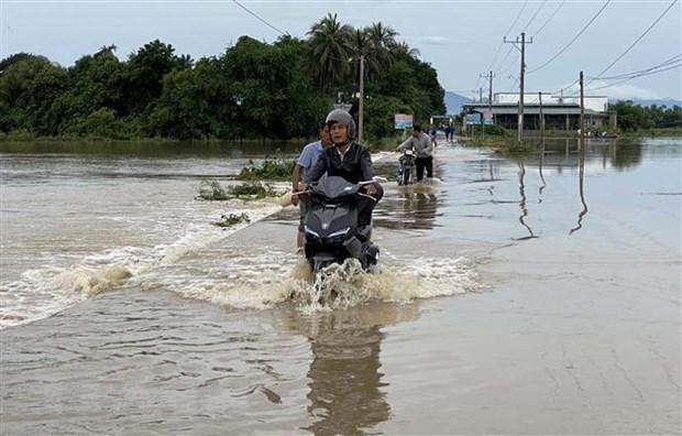 Đường vào thôn Thành Tín, xã Phước Hải, huyện Ninh Phước bị nước tràn qua, chảy xiết gây khó khăn cho lưu thông của người dân. (Ảnh: Công Thử/TTXVN)