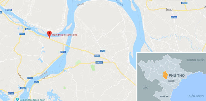 Trạm thu phí Tam Nông (chấm đỏ), nơi các lái xe né BOT cày nát mặt đê Hữu Thao. Ảnh: Google Maps.