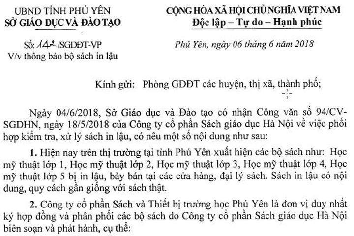Công văn cảnh báo của Sở GD&ĐT Phú Yên