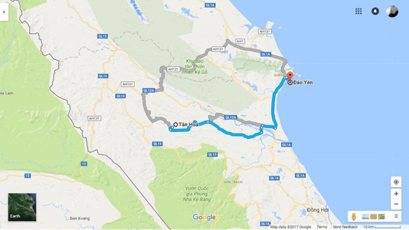 Vũng Chùa - Đảo Yến nằm cách hang Chuột khoảng 75 km. Từ xã Tân Hóa, bạn đi qua xã Cao Quảng, từ quốc lộ 1A đi tới xã Quảng Đông để tới Đảo Yến.
