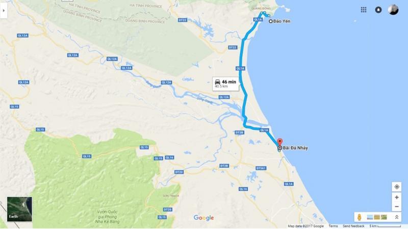 Bãi đá nhảy cách Đảo Yến 40,5 km. Từ Đảo Yến, bạn đi thẳng hướng tây, rẽ vào quốc lộ 1A.