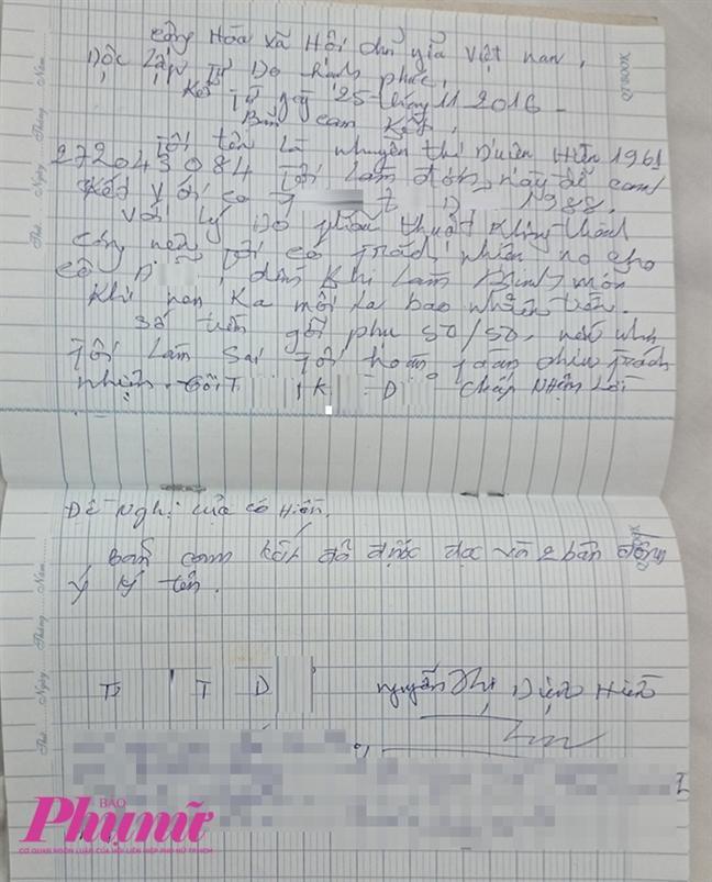 Bà Hiền đưa chị D. một bảng cam kết viết tay để chị yên tâm đến nhà bà chữa trị.