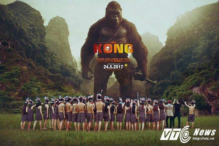 Bộ ảnh kỷ yếu của học sinh Quảng Bình lấy cảm hứng từ bộ phim Kong SKULL ISLAND  khiến nhiều người xem phì cười. (Ảnh Phan Cả)
