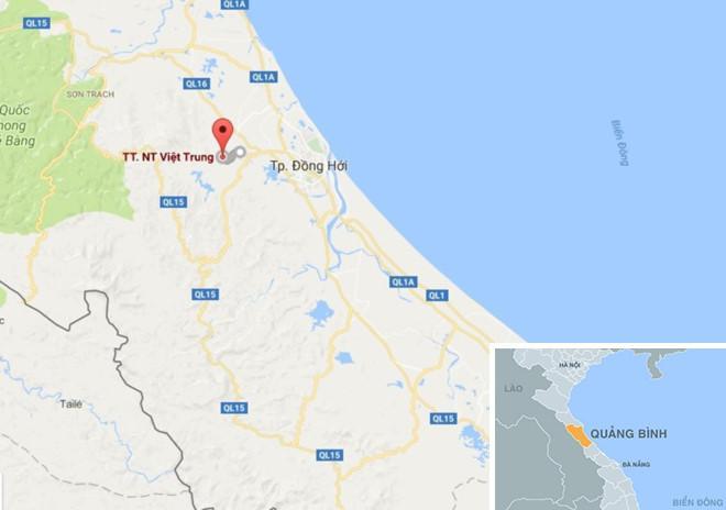 Vụ án xảy ra tại thị trấn Nông trường Việt Trung, huyện Bố Trạch. Ảnh: Google Maps.