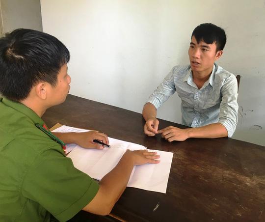 Cao Văn Thuận tại cơ quan công an - ảnh Công an Quảng Bình