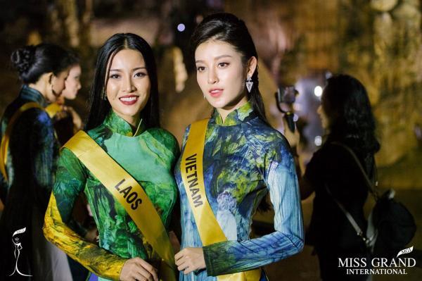 Huyền My và đại diện sắc đẹp của Lào.