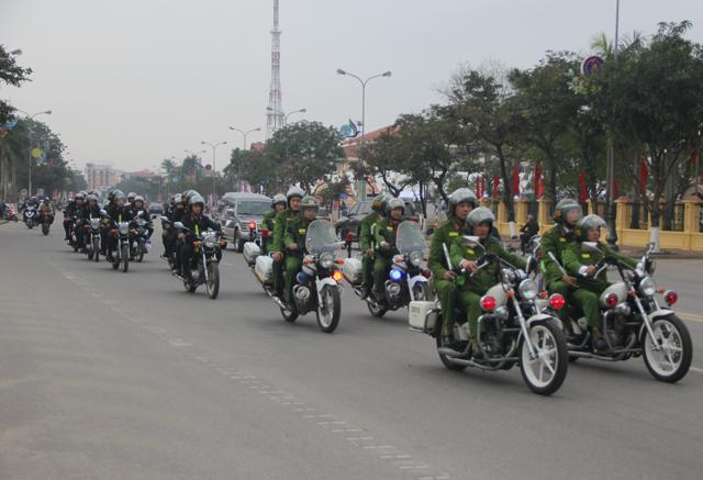 Lực lượng công an Quảng Bình ra quân trấn áp tội phạm, đảm bảo TTATGT dịp tết Nguyên đán Mậu Tuất 2018.