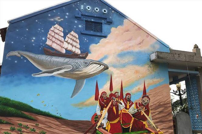 Câu chuyện về cá voi cứu người được lưu truyền ở miền biển Cảnh Dương đã đi vào bích họa.