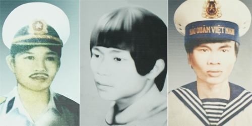 Từ trái qua, di ảnh liệt sĩ Nguyễn Văn Hóa, Võ Văn Đức và Hoàng Văn Túy. Ảnh: Hoàng Phương chụp lại
