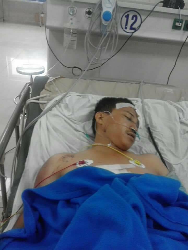 Anh Thuận hiện đang điều trị tại bệnh viện trong tình trạng nguy kịch - Ảnh: Hoàng Cát