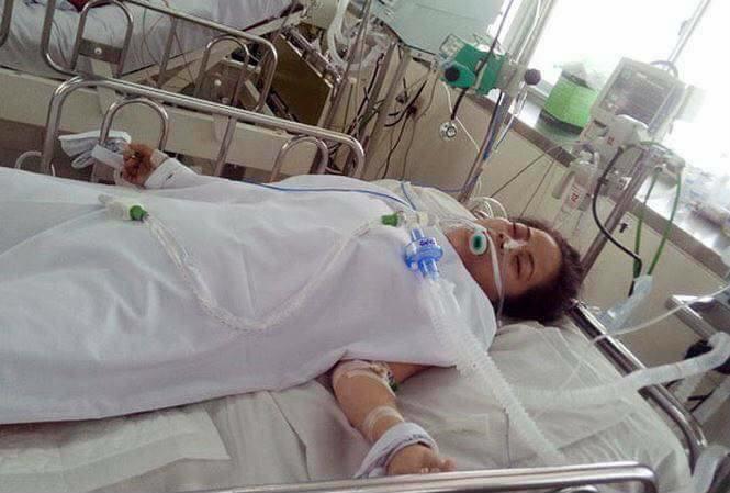 Chị Liễu bị thương rất nặng sau vụ tai nạn giao thông - Ảnh: Hoàng Cát