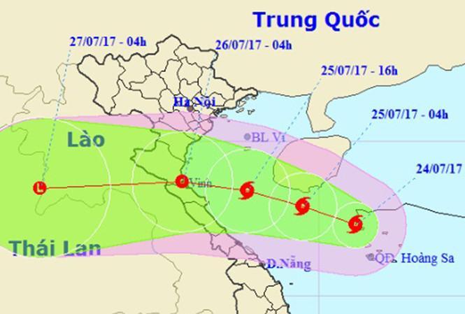 Vị trí và đường đi của bão số 4. Nguồn: nchmf.gov.vn.