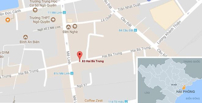 Vỉa hè nơi phát hiện người đàn ông tẩm xăng tự thiêu (dấu đỏ). Ảnh: Google Maps.