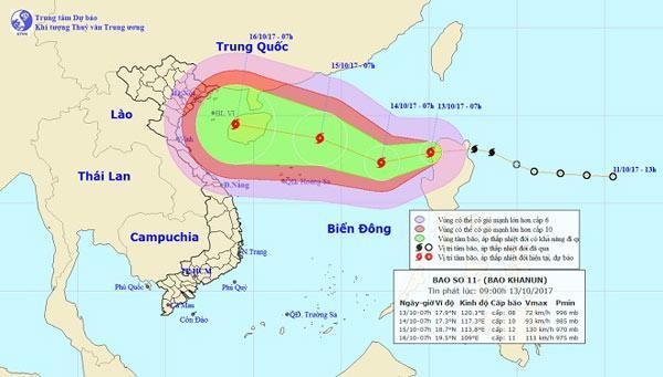 Đường đi của bão số 11 trên biển Đông
