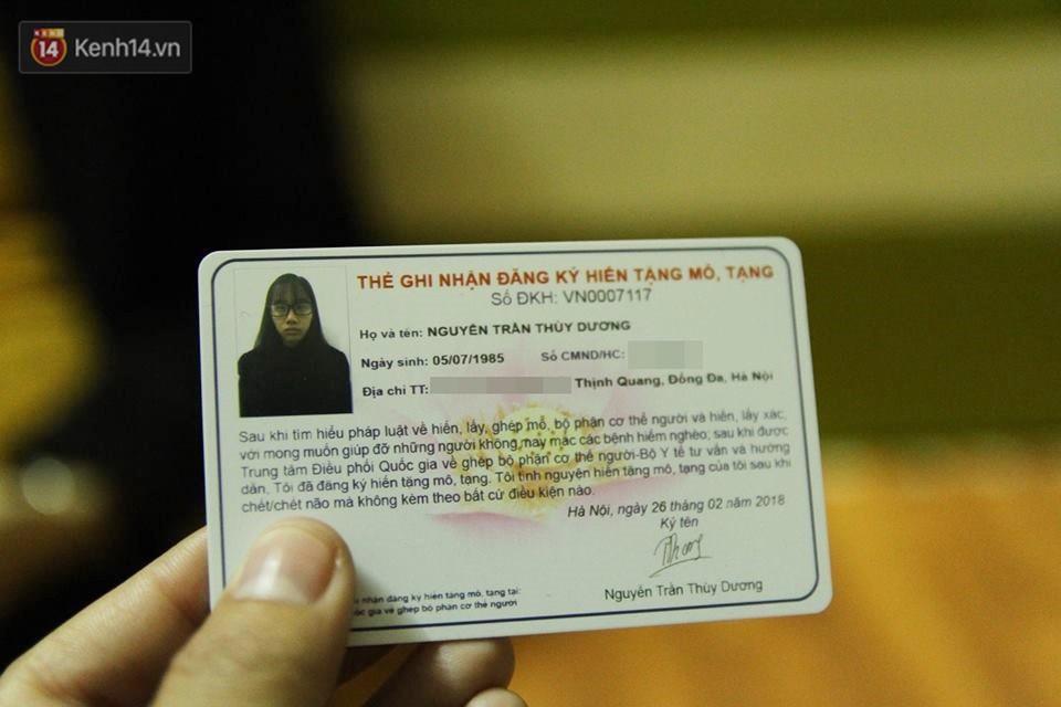 Theo nguyện vọng của con, chị Dương cũng đã đăng ký hiến tạng sau khi mất.