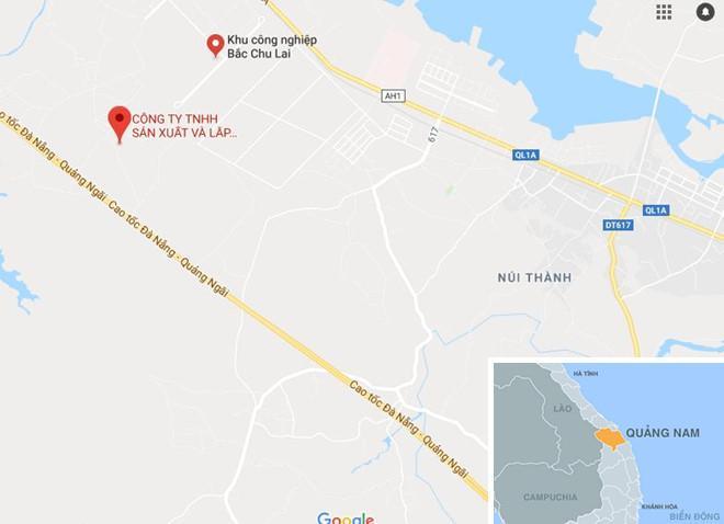 Cầu vượt 2 tầng sẽ được xây dựng trên tuyến quốc lộ 1A nối cảng Chu Lai và cao tốc Đà Nẵng - Quảng Ngãi. Ảnh: Google Maps.