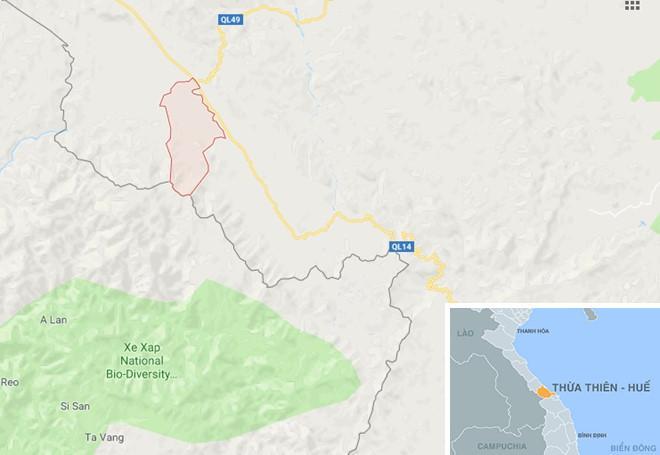 Xã Hồng Thượng (huyện A Lưới), địa phương xảy ra vụ bé gái đi chăn trâu bị mất tích bí ẩn. Ảnh: Google Maps.