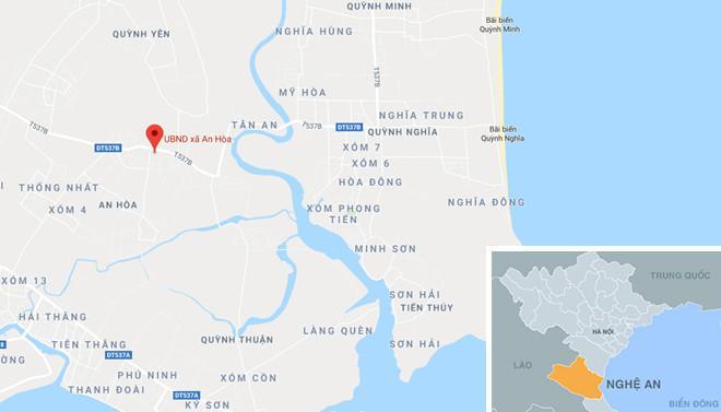 Xã An Hòa (dấu chấm đỏ), nơi xảy ra sự việc. Ảnh: Google Maps.