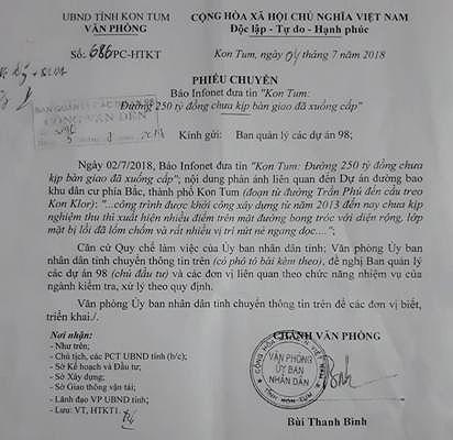 Công văn gửi BQL Dự án 98 (chủ đầu tư) của Văn phòng UBND tỉnh Kon Tum