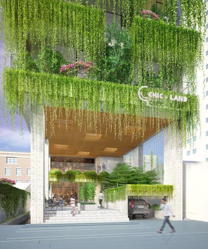 Ba mặt của khách sạn được bao phủ cây xanh. Theo kiến trúc sư đây là hình ảnh ruộng bậc thang ở vùng núi Tây Bắc.