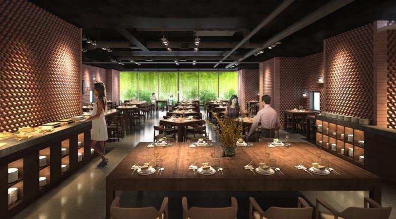Khu vực nhà hàng thiết kế mở với tầm nhìn thoáng đãng ra không gian xanh mướt.