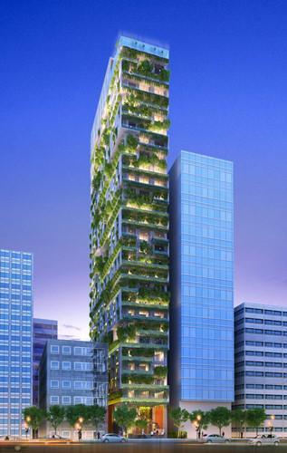 Nằm bên bờ biển, trong tương lai khách sạn sẽ trở thành tòa nhà xanh của thành phố.