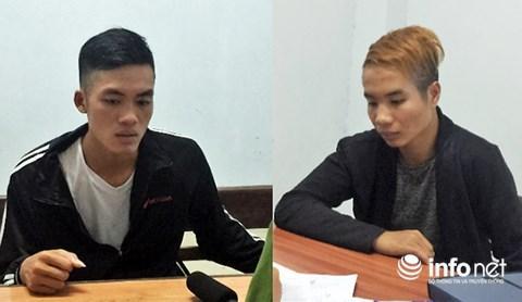 Hai đối tượng Nguyễn Bá Quang và Lê Quang Huy tại cơ quan Công an. (Ảnh do Phòng Cảnh sát Hình sự Công an Đà Nẵng cung cấp)