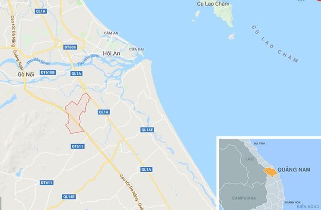 Xã Quế Xuân 2 (màu đỏ) ở Quảng Nam. Ảnh: Google Maps.