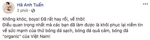 Hà Anh Tuấn nhận xét Olympic Việt Nam đã có phần thể hiện rất xuất sắc.