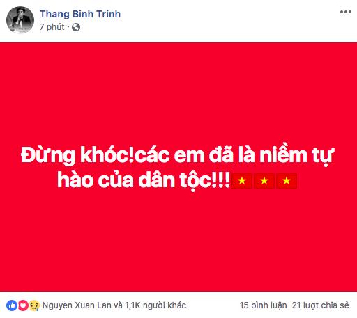 Lời động viên của Trịnh Thăng Bình gửi tới Olympic Việt Nam.
